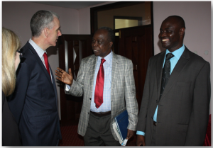 From Left to right is H.E. Donal Cronin, Prof. Jalobo Piwang and Mr. Basil Ajer
