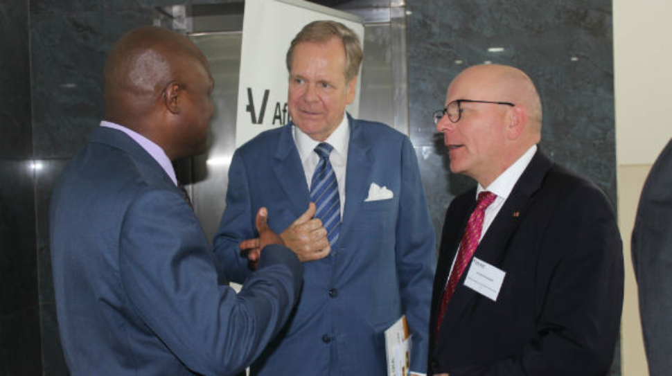 UIA Board Chairman Mr. Emely Kugonza, German Amb. to Uganda Dr. Albrecht Conze and the CEO of the German African Business Association, Mr Christoph Kannengierber after the meeting.